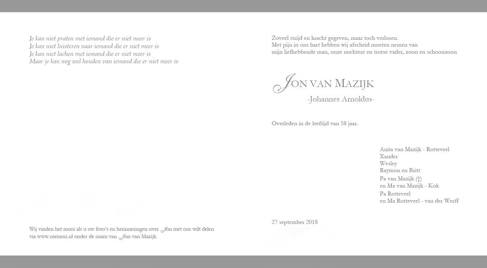 Rouwkaart Jon v Mazijk